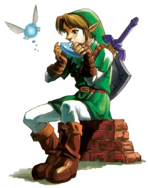 Link playing ocarina
