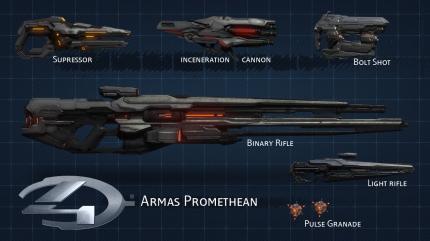 Una muestra de las nuevas armas que podemos encontrar en Halo 4. Muchas de las conocidad han sido rediseñadas.